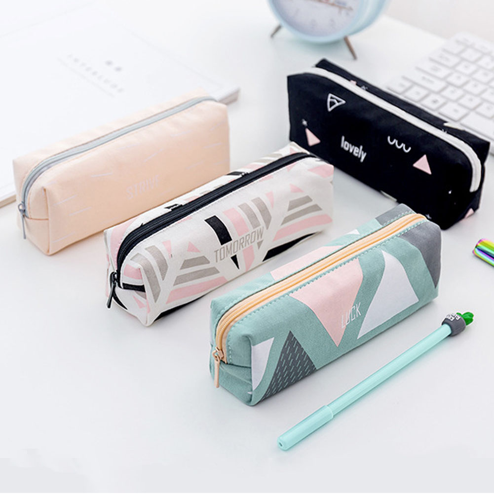 Pen Box School Stationery Portable Canvas For Students Geometry Print Zipper Pencil Bag Fashion Soft Organizer Pencil Case