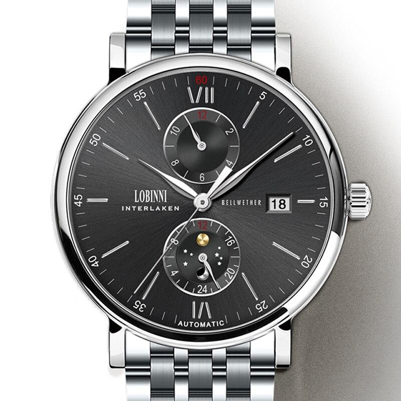 New Watch Men Automatic Mechanical Switzerland LOBINNI Men Watches Luxury Brand wrist watch Sapphire relogio masculino