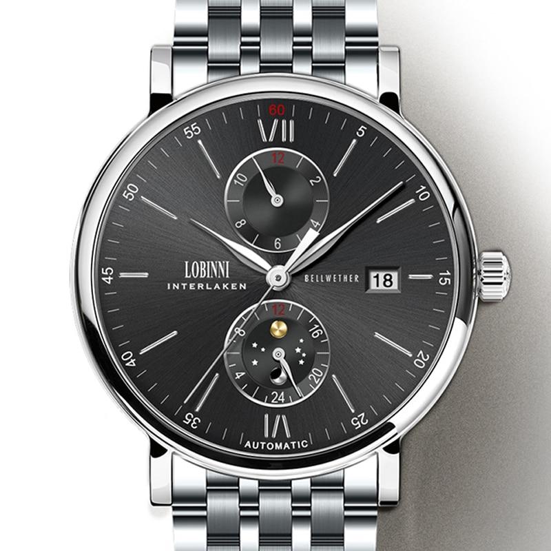 Nouvelle Montre Hommes Automatique Mécanique Suisse LOBINNI Hommes Montres De Luxe Marque montre-bracelet Sapphire relogio masculino L1017