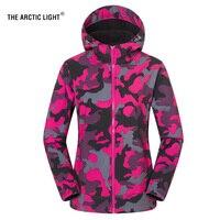 THE ARCTIC LIGHT Women Men Fleece Fishing Camping Hiking Jacket Camouflage Waterproof Warm Windproof Outdoor Skiing Coat Rosy