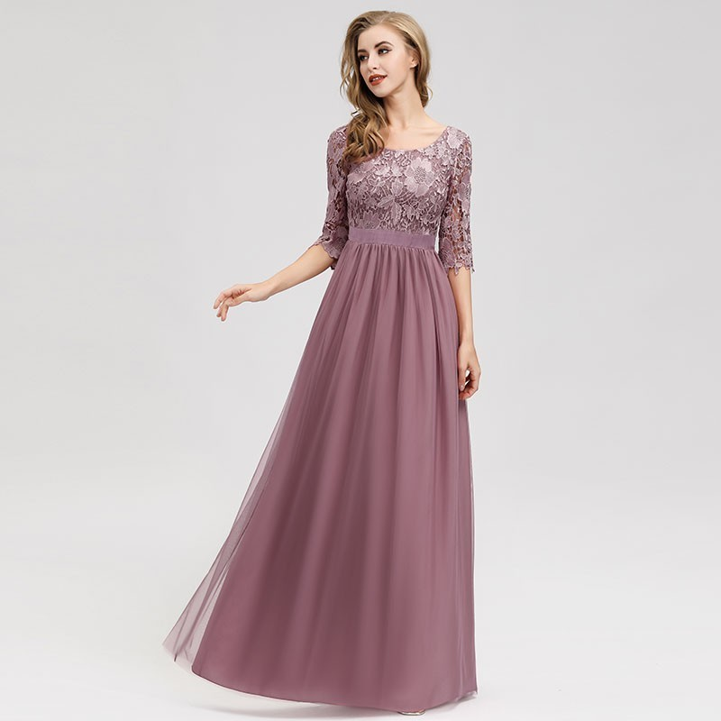 Bridesmaid-Dresses Guests-Gowns Pretty Chiffon Wedding Women Lace A-Line Vintage O-Neck