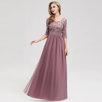 Lace Bridesmaid Dresses Long Ever Pretty Appliques A Line O Neck Hollow Out Sleeve Vintage Women Chiffon Wedding Guests Gowns