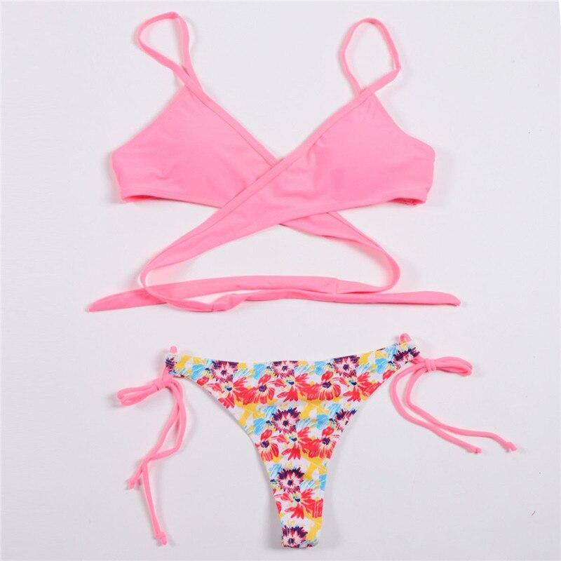 Trendy Sexy Women clothes casual polyester Push-up Padded Bra Swimwear Swimsuit Bathing Suit Bandage Bikini Set