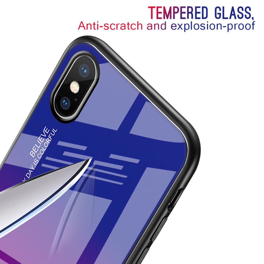 Luxury Capa Shockproof Gradient Tempered Glass Phone Case Back Cover For iPhone 7 8 plus 6 6s plus For iphone X XS Max XR Fundas