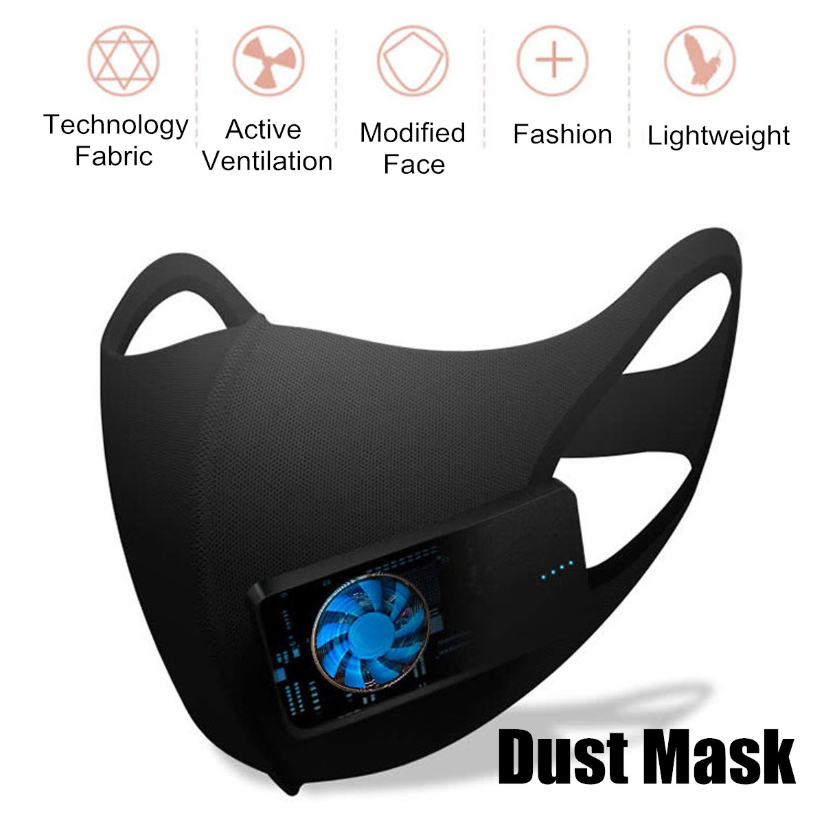 5V Electric Valved Outdoor Riding Dust Mask PM2.5 Breath Protective Respirator Spraying Spraying Workplace Safety Supplies Black
