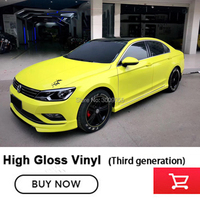 Lemon yellow Glossy Vinyl Film Gloss White vinyl Wrap with ADT (Air Drain Technology) Car Wrapping Third generation products