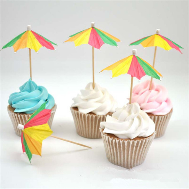 10pcs Mini Umbrella Cocktail Decoration Hawaiian Cake Topper Baby Shower Kid Birthday Decorations Hen Party