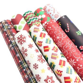 David accesorios 30x140cm Navidad piel sintética falsa, DIY prenda textil para el hogar Knotbow bolsas decoración Craft,1Yc3986