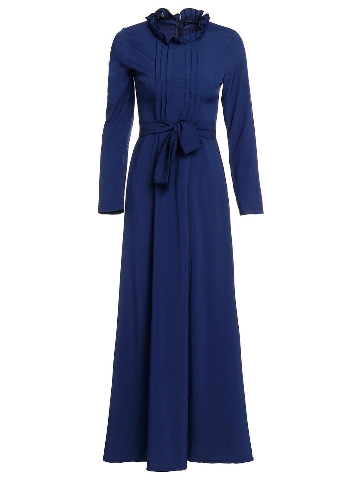 VESTLINDA стильный Стенд средства ухода за кожей шеи с длинным рукавом сплошной цвет женское платье макси распродажа