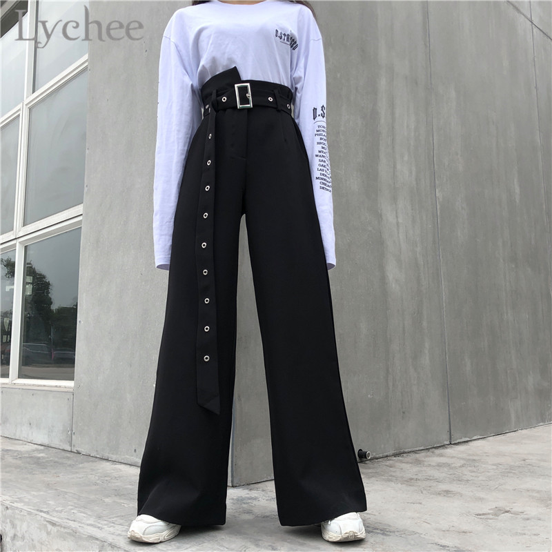 Lychee Harajuku Belt Wide Leg Women Pants High Waist Solid Color Full Length Trousers Spring Autumn Causal Loose Pants Female