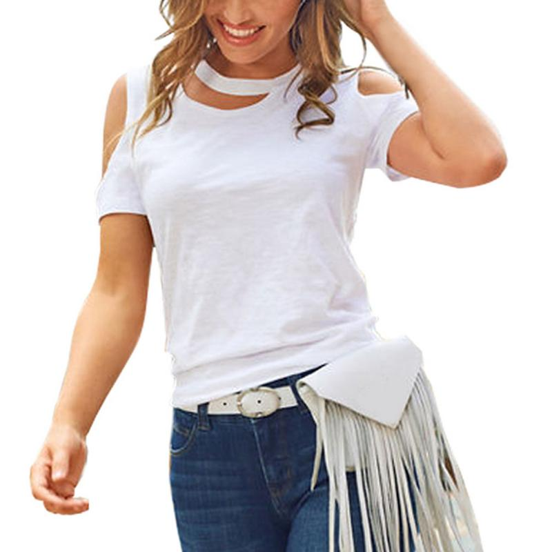 Cut Out Neck Cold Shoulder Tee Women Hallow Out Loose T-shirt Casual Solid Color Fashion Top