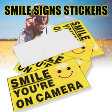 Mayitr 5Pcs Vinyl Smile Signs Decal Youre On Camera Video Alarm Safety Warning Stickers Decor 9x5cm