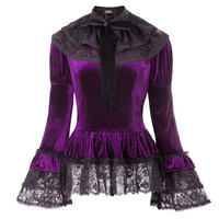 Gothic Victorian 2pcs Set Velvet Top +Lace Cape Steampunk Theater Clothing Navy Blue Purple Womens Vintage Coat Tops Outerwear