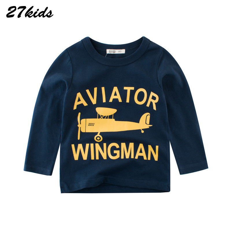 27kids Baby Girl Winter Tops Cartoon Plane Tee Shirt Enfant Autumn Baby Boy Long Sleeve Tshirt Kids Top Clothes For Children