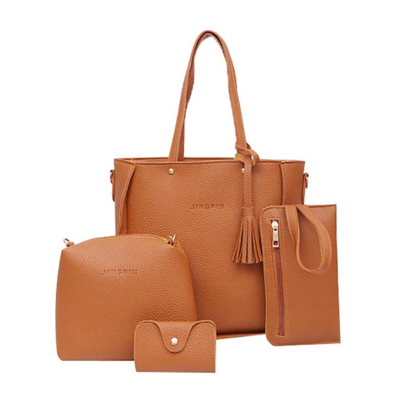 4pcs/set Litchi Leather Tassel Handbags  5