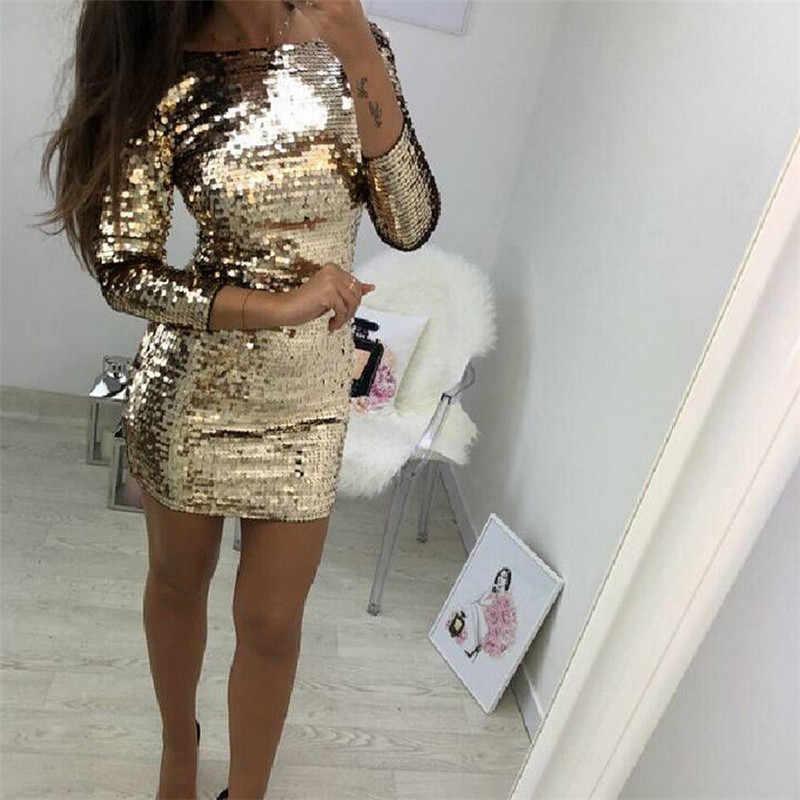 Women Gold Glitter Dress Female Bandage Sequins Long Sleeve Evening Party  Club Short Mini Dress Long e8deaa692623