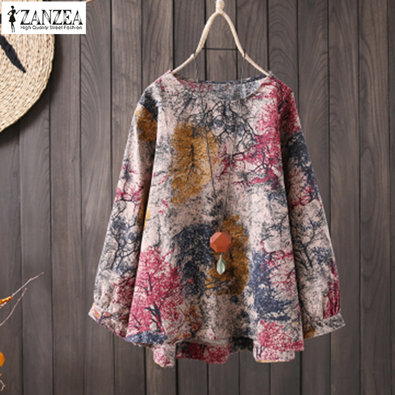 ZANZEA 2019 Plus Size Tunic Tops Women Vintage Print Linen   Blouse   Female Long Sleeve   Shirt   Elegant Casual Party Work Blusas 5XL