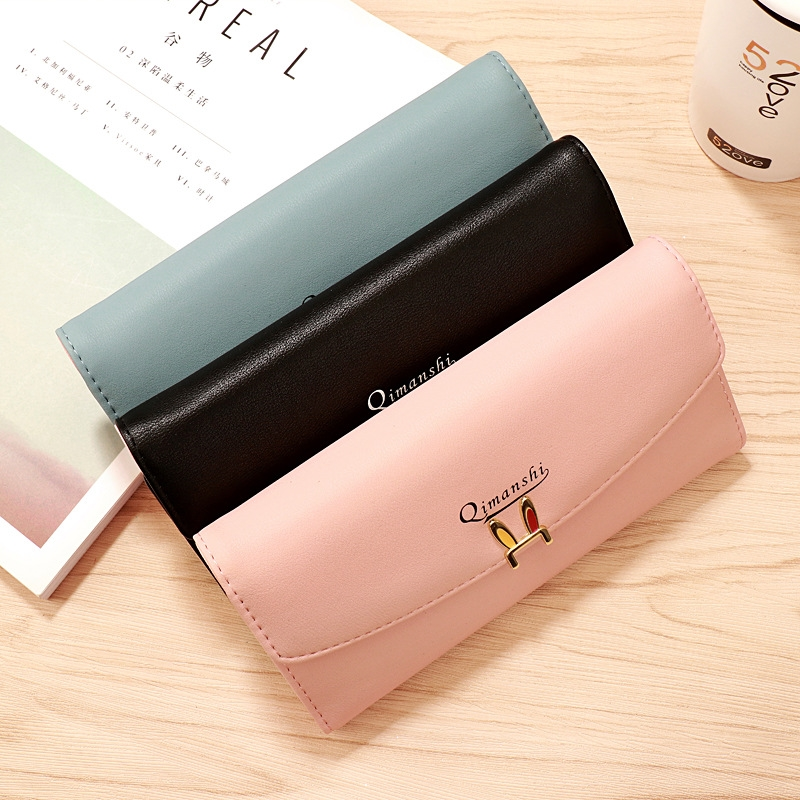 Wallet Female Long Cute Minimalist Small Fresh Student Large Capacity Personality Wallet in Wallets from Luggage Bags