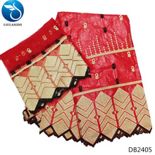 LIULANZHI Red african embroidered fabrics bazin riche getzner new designs brode for clothes DB24