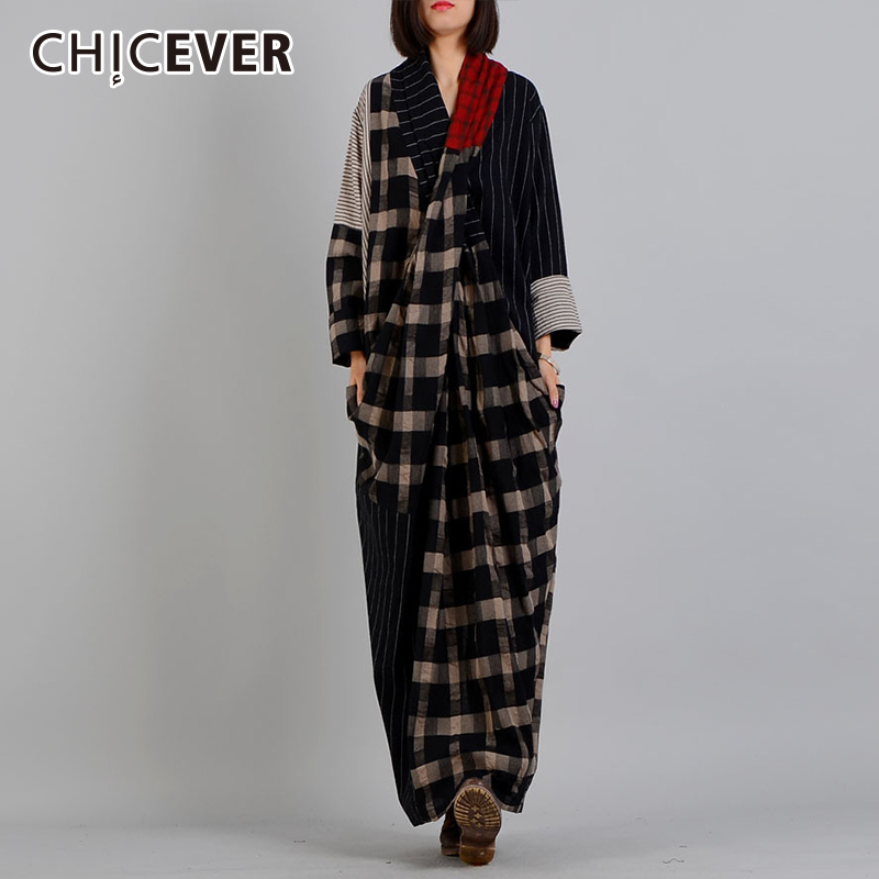 CHICEVER Autumn Dresses For Women V neck Long Sleeve Hem Split Plaid Hit Colors Loose Big