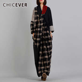 CHICEVER Autumn Dresses For Women V neck Long Sleeve Hem Split Plaid Hit Colors Loose Big Size Dress Female Fashion Tide New - DISCOUNT ITEM  39% OFF All Category