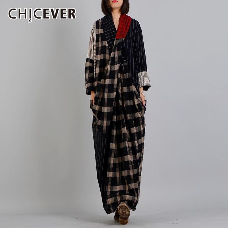 CHICEVER automne robes pour femmes col en V à manches longues ourlet fendu Plaid Hit couleurs lâche grande taille robe femme mode marée nouveau