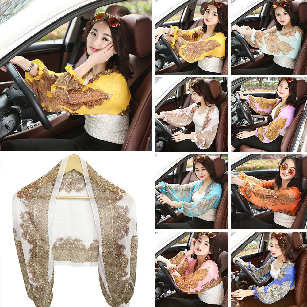 Summer New Fashion Sleeves Chiffon Print Pink Color Silk Sleeves Arms Outdoor Riding Beach Sunscreen Anti-Uv Sleeve Holder