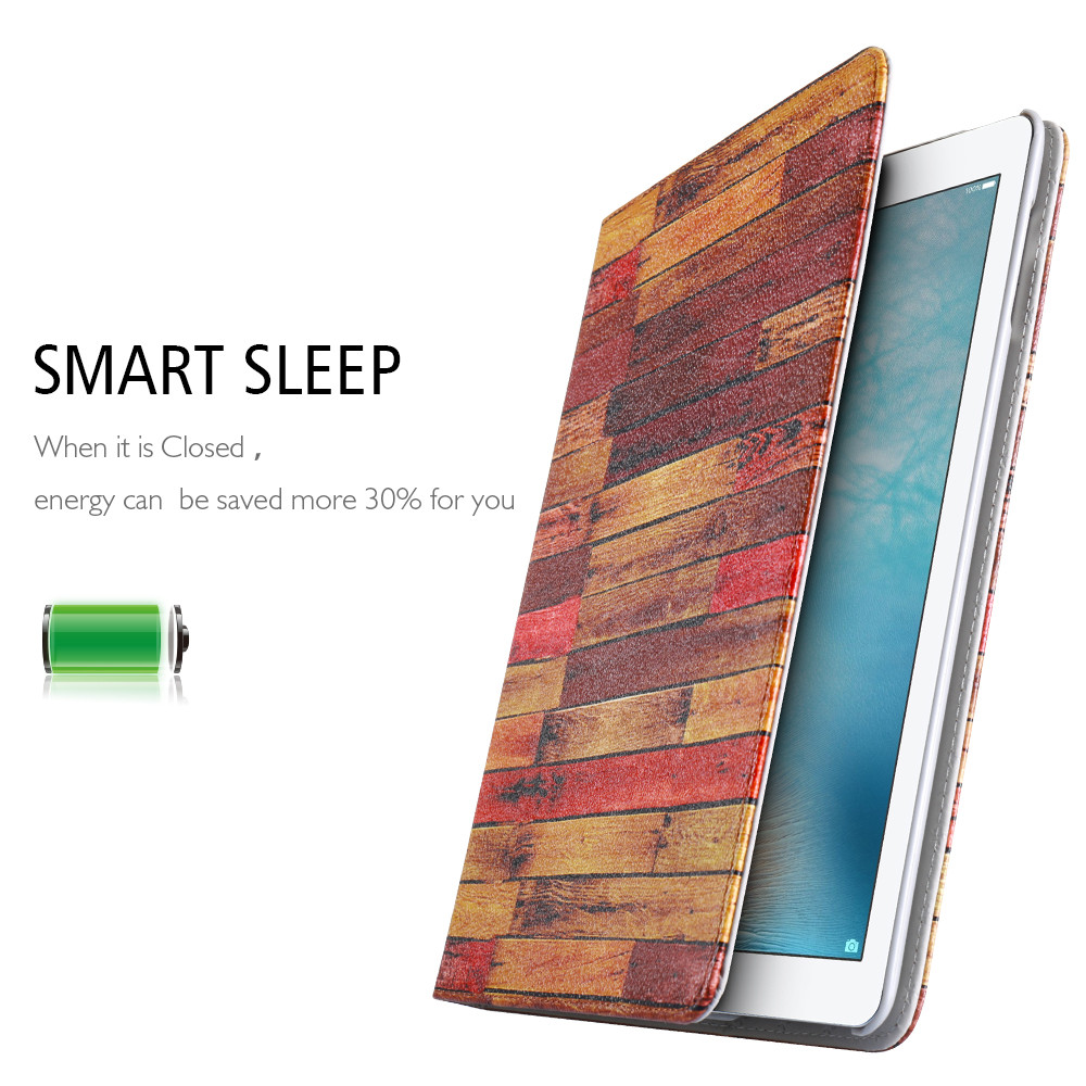Universal Case For iPad Air 1 2 Flip Holder Stand Wood Pattern Case For iPad 2 3 4 PU Protect Cases For iPad Mini Accessories *