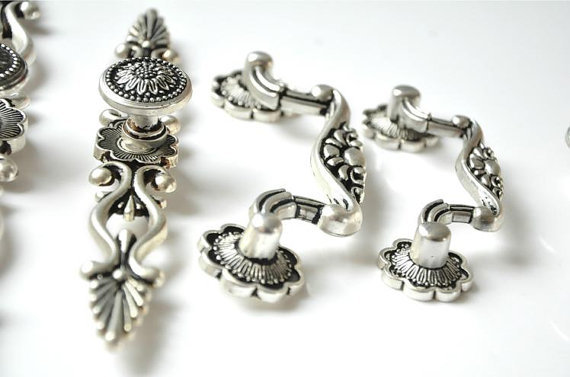 6 Styles Dresser Knobs Pulls Drawer Pull Handles Antique Silver Black Kitchen Cabinet Handles Knobs Door Handle Cupboard Vintage in Cabinet Pulls from Home Improvement