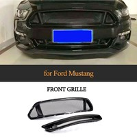 2pcs/set Mesh Grill for 2015 2016 Ford Mustang Base Coupe 2 Door Carbon Fiber Front Bumper Grille