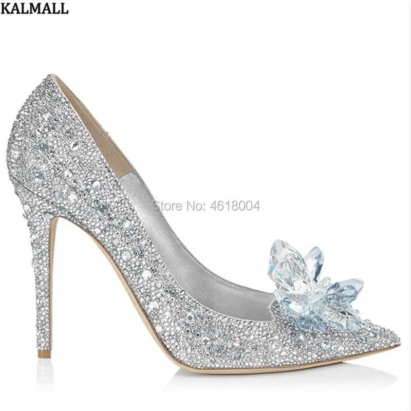 KALMALL Flower Pumps Crystal-Shoes Wedding-Shoes Celebrity Party-Heels Rhinestone Bridal