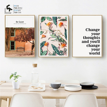 CREATE&RECREATE Nordic Poster Flower Landscape Print Art Quotes Canvas Painting Decorative Pictures For Living Room CR1810115045