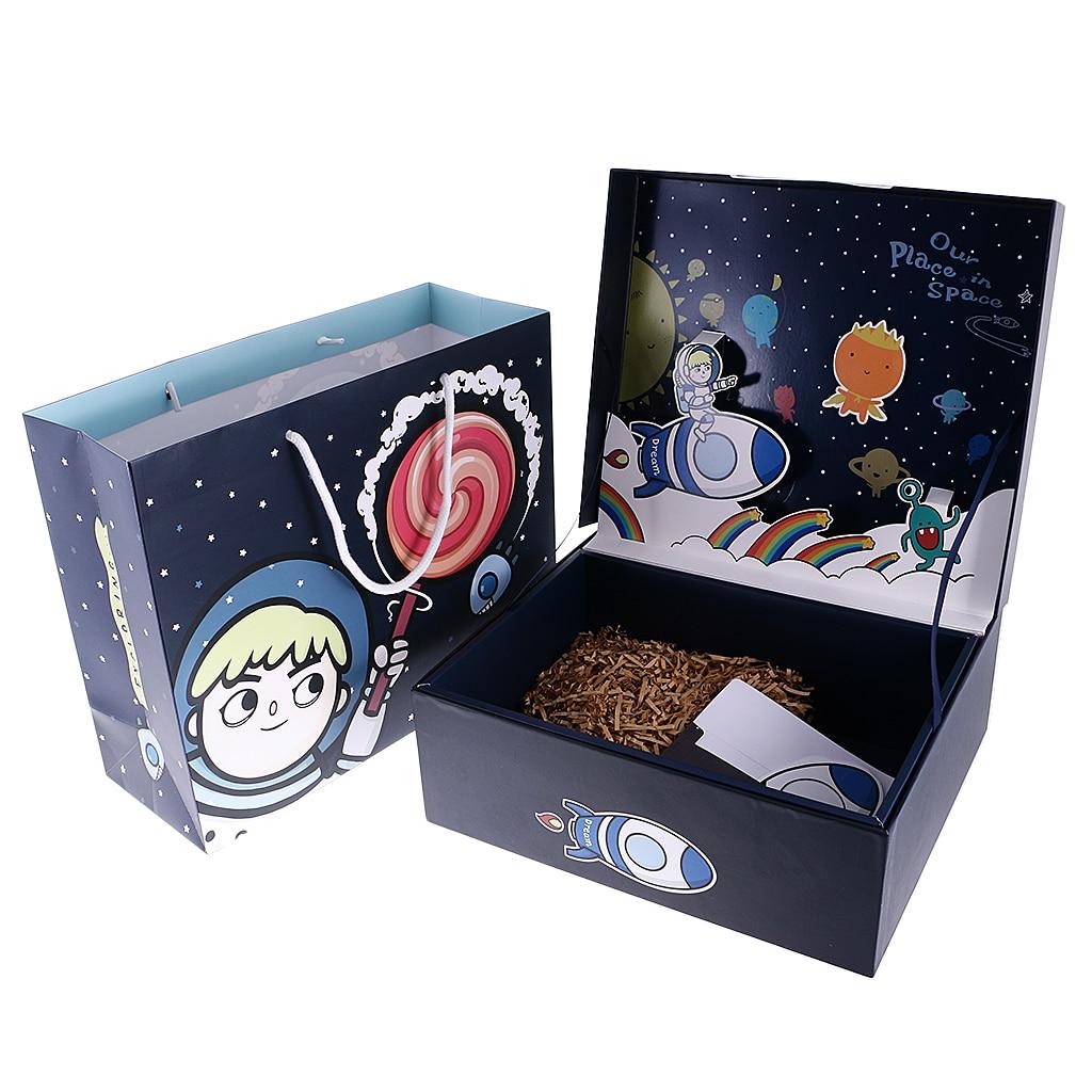 Créatif espace extérieur thème enfants auto Stand boîte-cadeau fête sac carte faveur ensembles