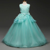 Children Christening Girl Dress Kids Bow Tie Lace Long Dresses For Girls Princess Tutu Dress For Wedding Party Wear 8 Color