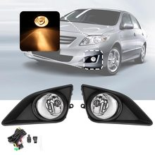 Pair For Toyota 2008 2009 2010 Corolla 12V Front Bumper Clear Lens Fog Lights Lamps w/ H11 Bulbs +Wiring Harness + Switch
