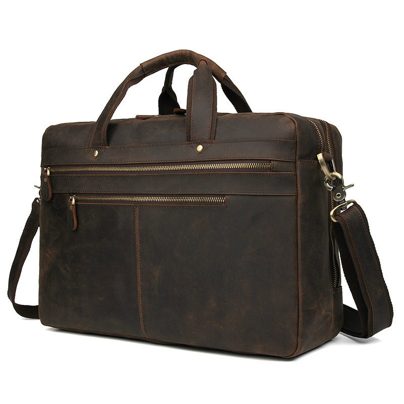 Top Grade Office Handbag Male 769 Men's Vintage Real Crazy Horse Leather Briefcase Messenger Shoulder Portfolio Laptop Bag Case