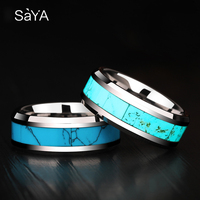 High Quality 8mm Width Tungsten Carbide Wedding Rings Band High Polished Inlay Blue Stones US Size 7 13 with Free Gift Box