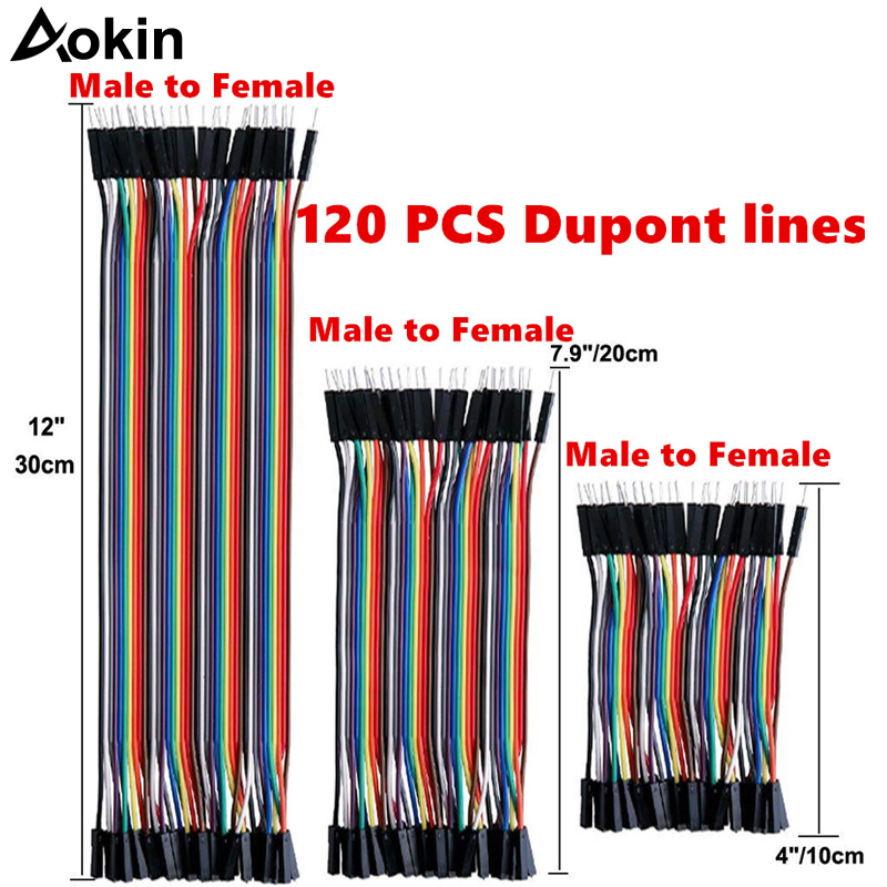 120pcs Dupont Wire Jumper 40pin Male To Female 10cm/20cm/30cm For Arduino Breadboard/Based/DIY/ Raspberry Pi 2 3 Ribbon Cables