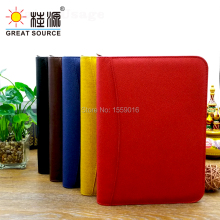 A5 leather ring binder notebook agenda with calculator