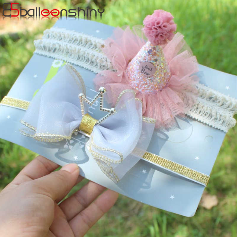 BalleenShiny Crown Elastic Headband Baby Girls Princess Lace Flower Birthday Hair Band Child Kids Fashion Cute Hair Accessories