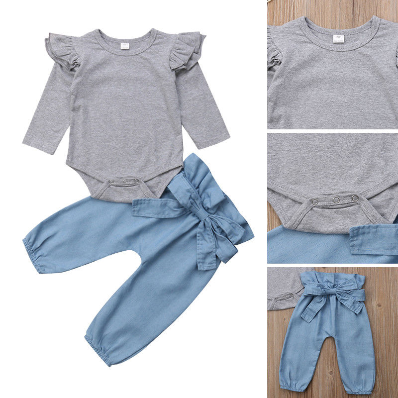 Pudcoco <font><b>Girl</b></font> <font><b>Clothes</b></font> Suit Carters US <font><b>Newborn</b></font> <font><b>Baby</b></font> <font><b>Girl</b></font> Tops Romper Bowknot Denim Pants 3Pcs <font><b>Autumn</b></font> Outfits <font><b>Clothes</b></font> image