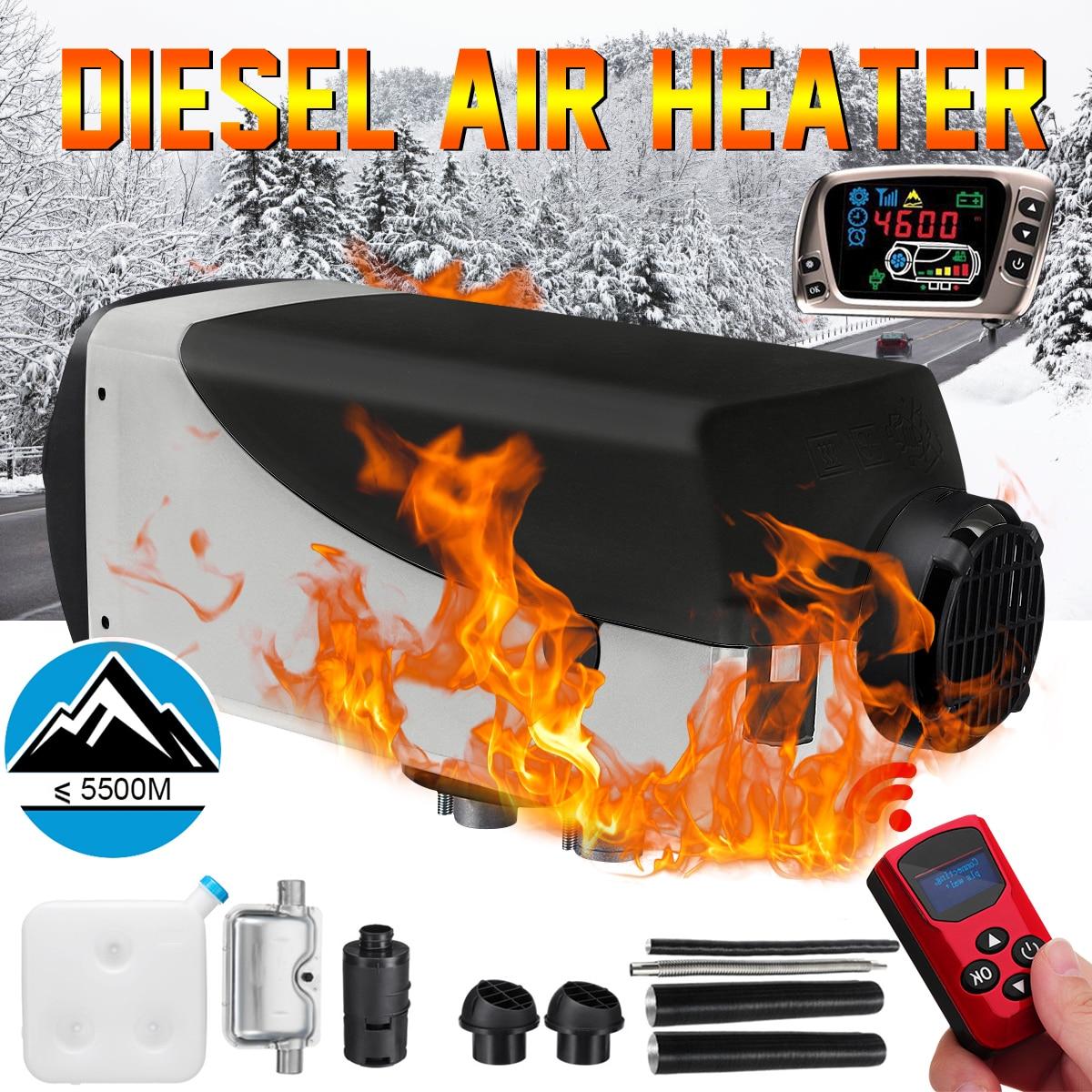12 V 2kw Diesel réchauffeur d'air Air Chauffage LCD Interrupteur + Silencieux + Nouvelle télécommande Pour Camions Bateaux remorque de voiture Chauffe