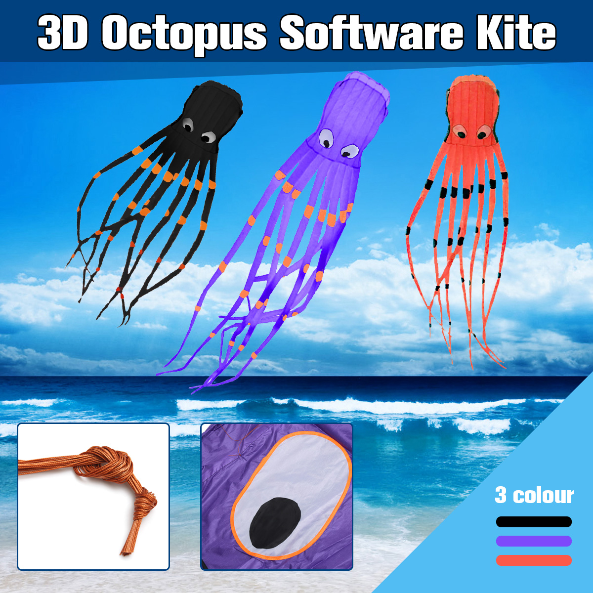 3D Octopus Nylon Kite Outdoor Sport 8M Soft Frameless Kite Flying Long Tails Perfect for Children Adults Beach Park Vacation