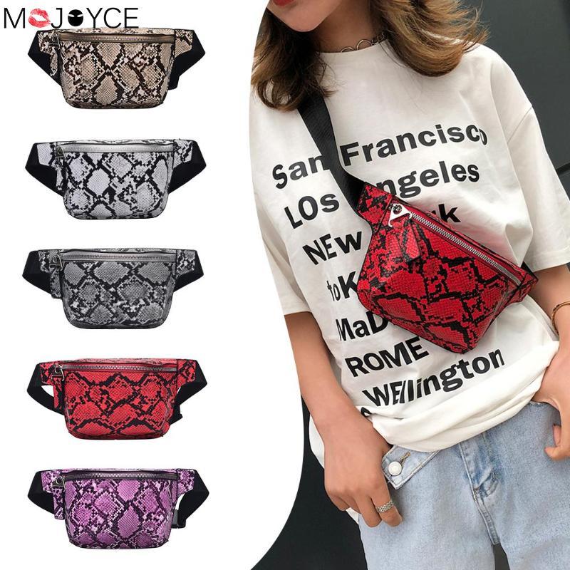 New Fashion Women Chest Bag Snake Print Shoulder Waist Handbags Unisex Leather Fanny Packs Chest Bags PU Shoulder Bag Handbag