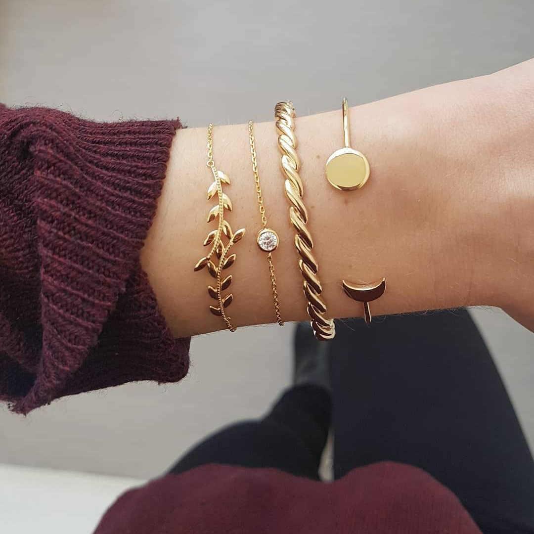 RINHOO 5 sztuk/zestaw moda Punk złoty łańcuch księżyc liść z kryształami geometria otwarty zestaw bransoletek kobiety urok biżuteria plażowa Drop Shipping