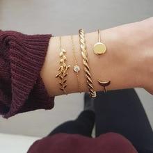 RINHOO 5Pcs/Set Fashion Punk Gold Chain Moon Leaf Crystal Geometry Open Bracelet Set Women Charm Beach Jewelry Drop Shipping