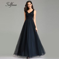 Elegant Navy Blue Dress Women Long 2019 Sexy A Line V Neck Sleeveless Appliques Lace Dress Summer Beach Robe De Soiree