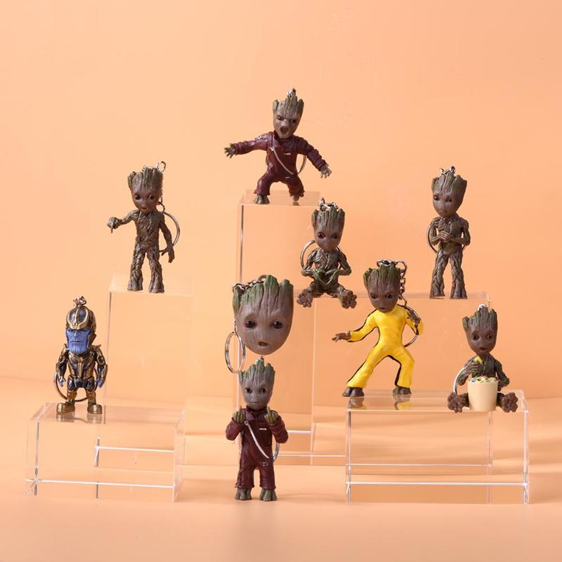 Baby Groot Action Figures Toy Key Chain Home Ornament Cute Model Toy For Kid Cartoon Tree Man Keychain Car Hanging Decor Keyring