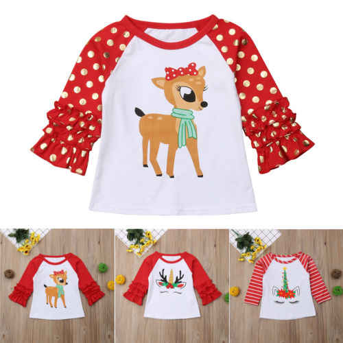 Toddler Kids Baby Boy Girls Clothing & T-shirt Party Tees Tops Outfit Christmas