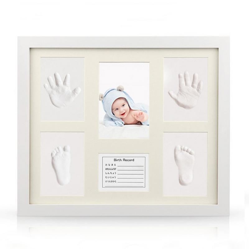 Baby Care Non Toxic Baby Handprint Footprint clay Kit Baby Souvenirs Casting Newborn Footprint Clay Toy Gift with photo frame O3